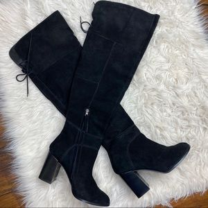 STEVE MADDEN Black Suede Over-the-Knee Boots